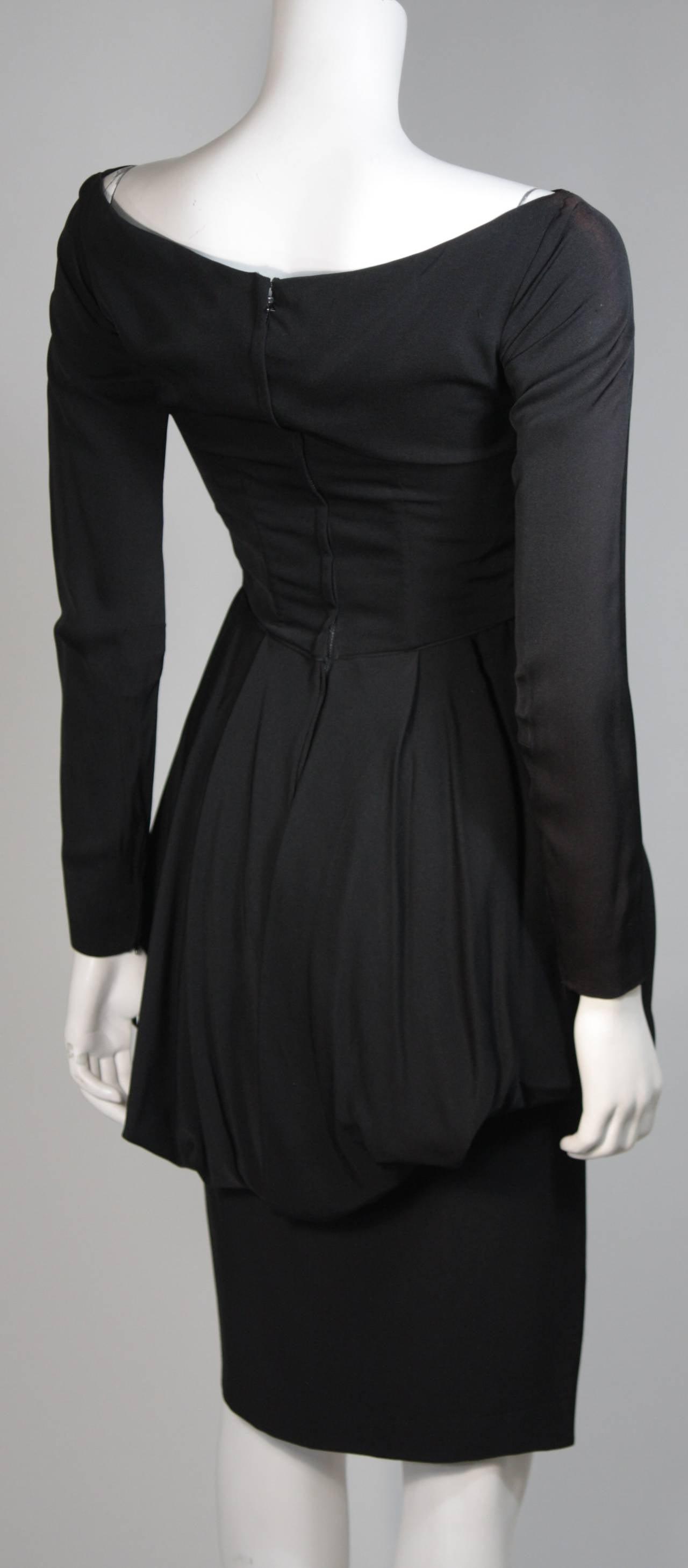 Ceil Chapman Black Draped Princess Seam Peplum Style Waist Dress Size XS 8