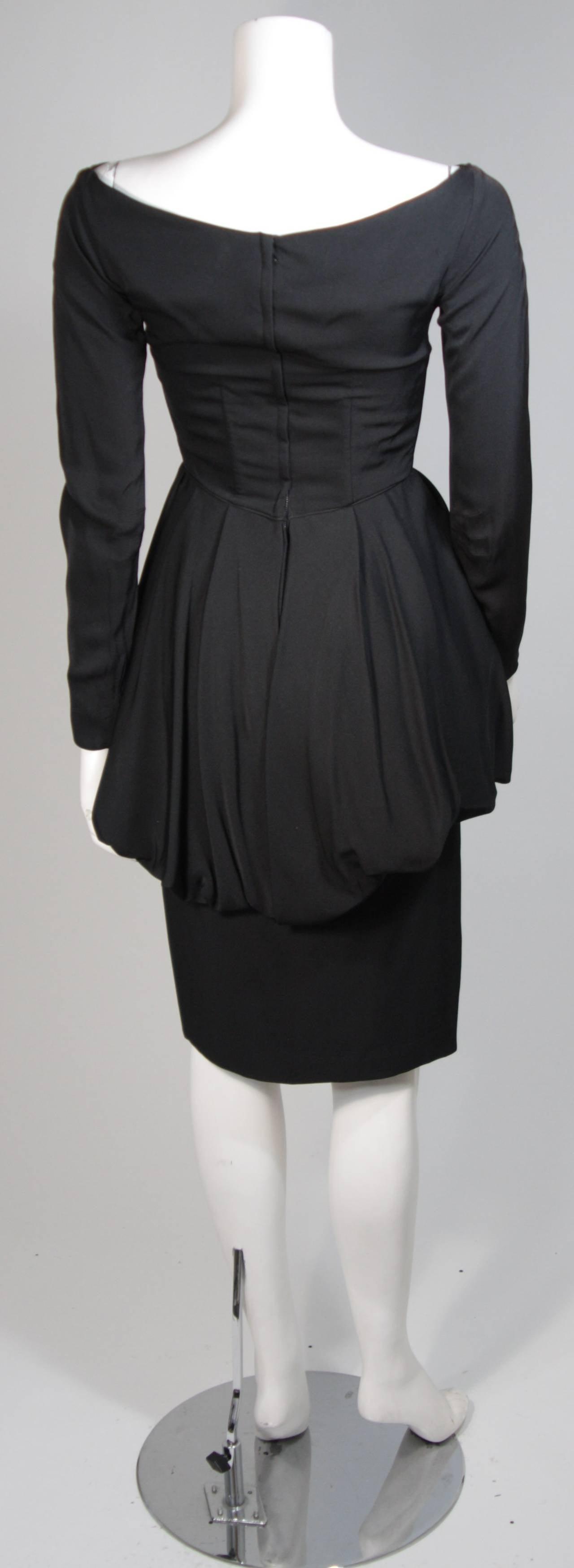 Ceil Chapman Black Draped Princess Seam Peplum Style Waist Dress Size XS 9