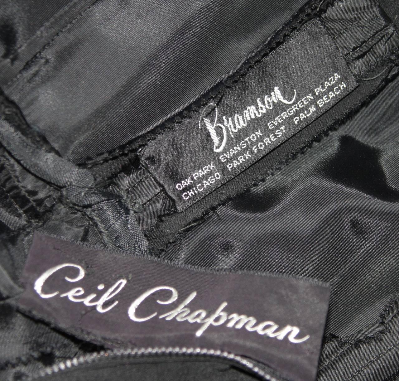 Ceil Chapman Black Draped Princess Seam Peplum Style Waist Dress Size XS 10