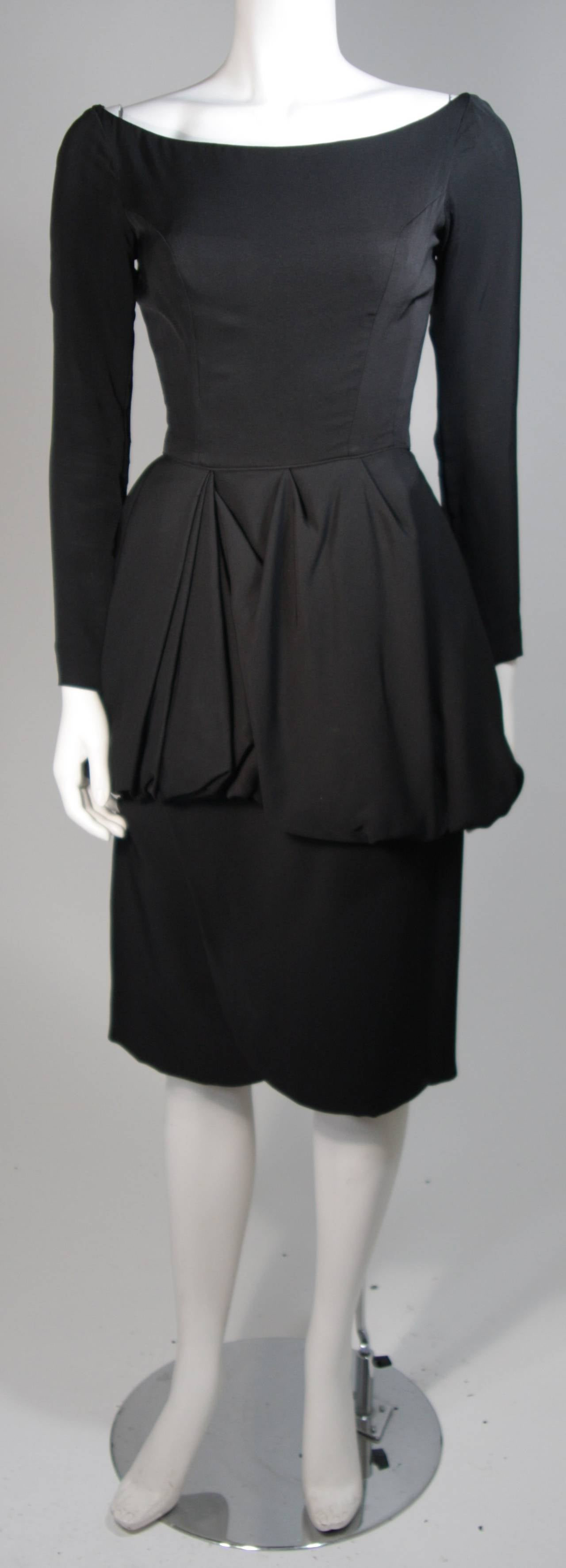 Ceil Chapman 1950's Black Cocktail Dress with Draped Peplum Detail Size Small 2
