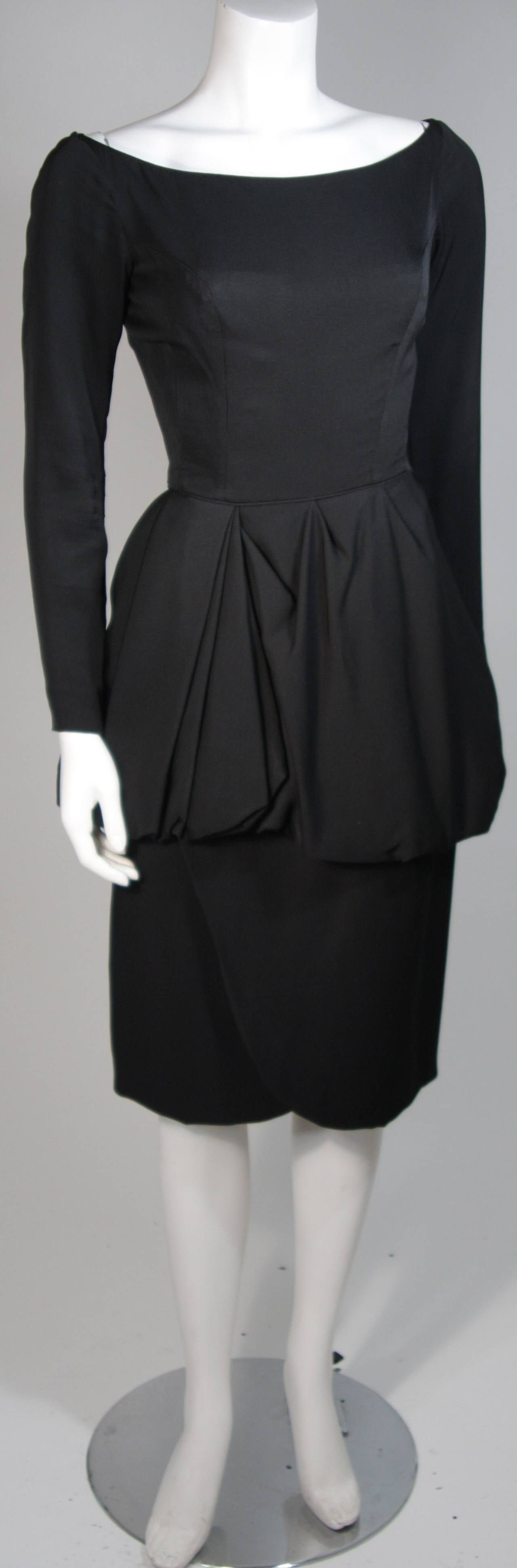 Ceil Chapman 1950's Black Cocktail Dress with Draped Peplum Detail Size Small 3