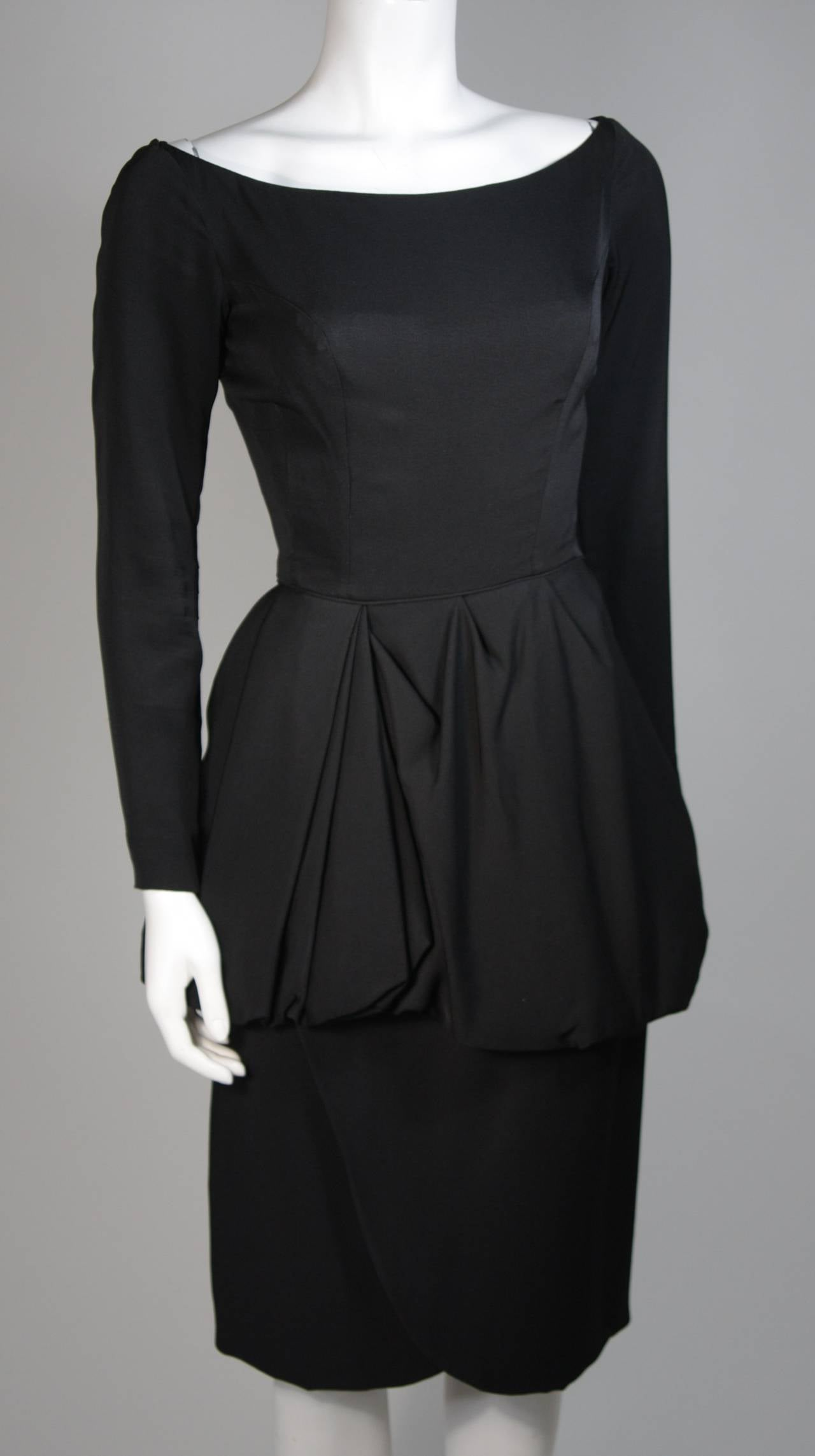 Ceil Chapman 1950's Black Cocktail Dress with Draped Peplum Detail Size Small 4