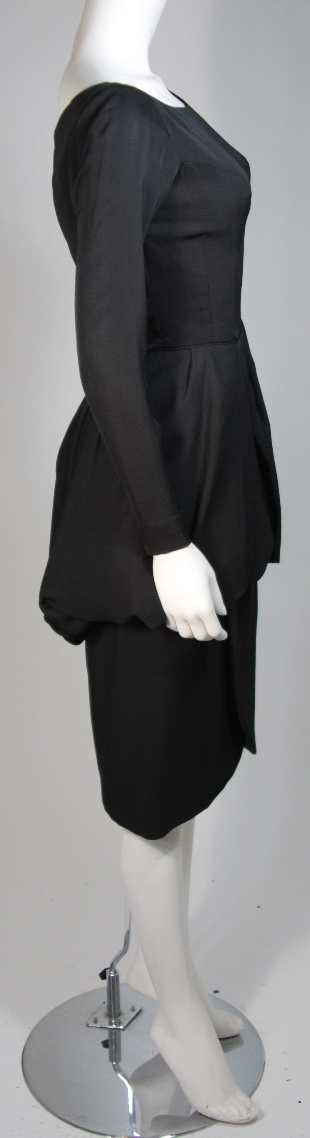 Ceil Chapman 1950's Black Cocktail Dress with Draped Peplum Detail Size Small 5