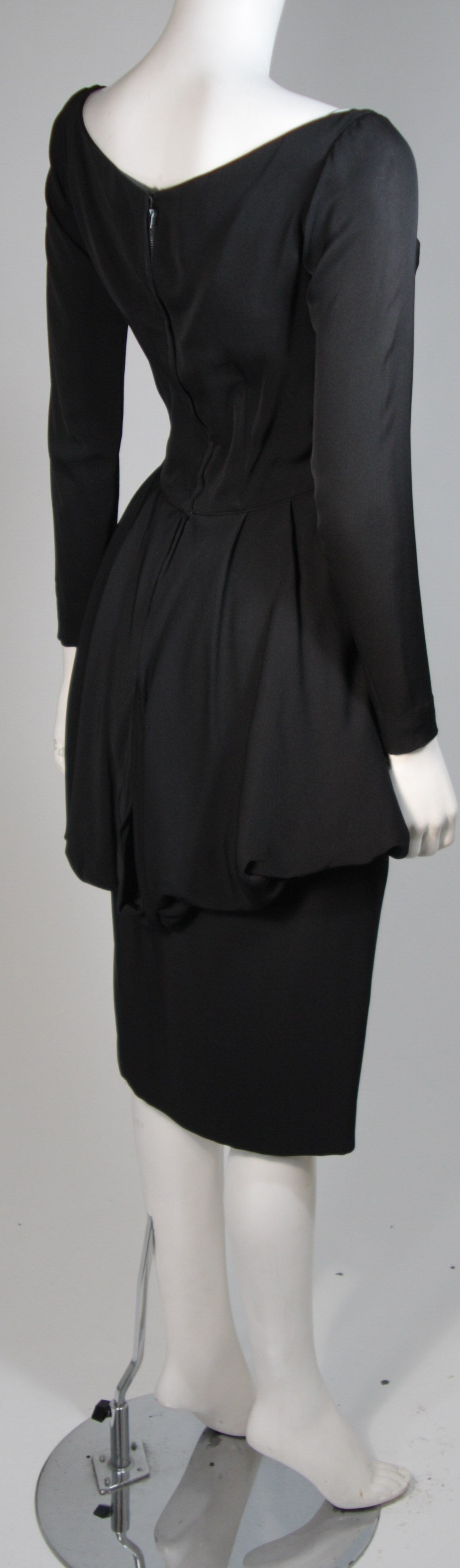 Ceil Chapman 1950's Black Cocktail Dress with Draped Peplum Detail Size Small 6