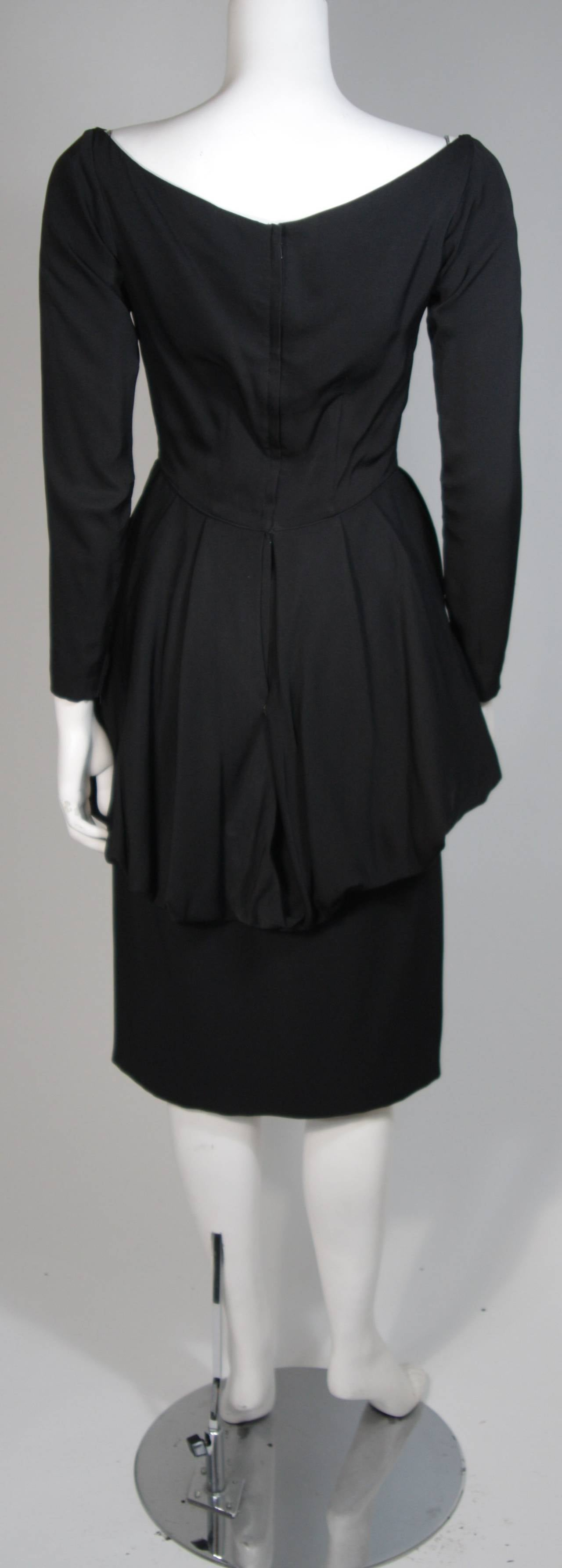 Ceil Chapman 1950's Black Cocktail Dress with Draped Peplum Detail Size Small 8
