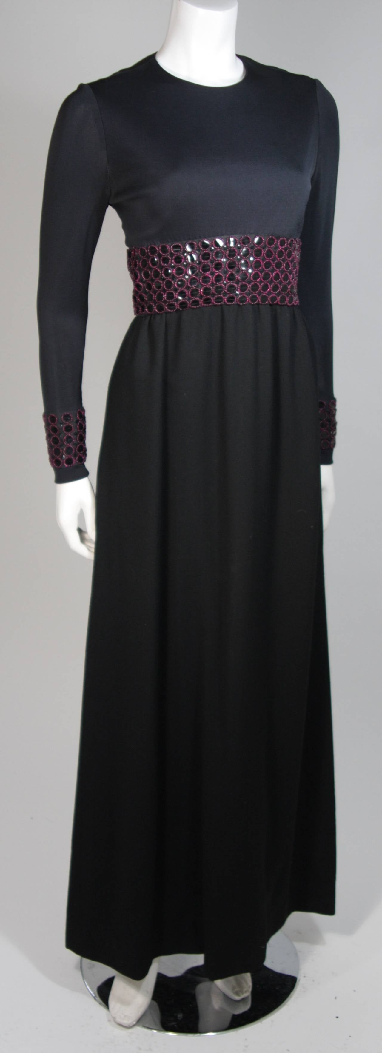 Chester Weinberg Black Long Sleeve Gown With Beaded Waist Size S M 3