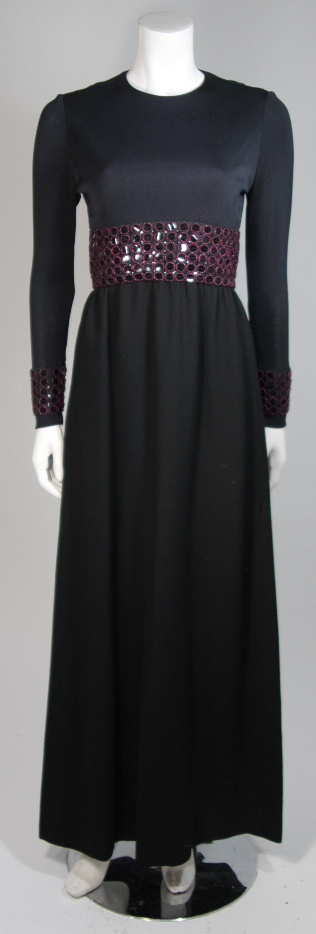 Chester Weinberg Black Long Sleeve Gown With Beaded Waist Size S M 2