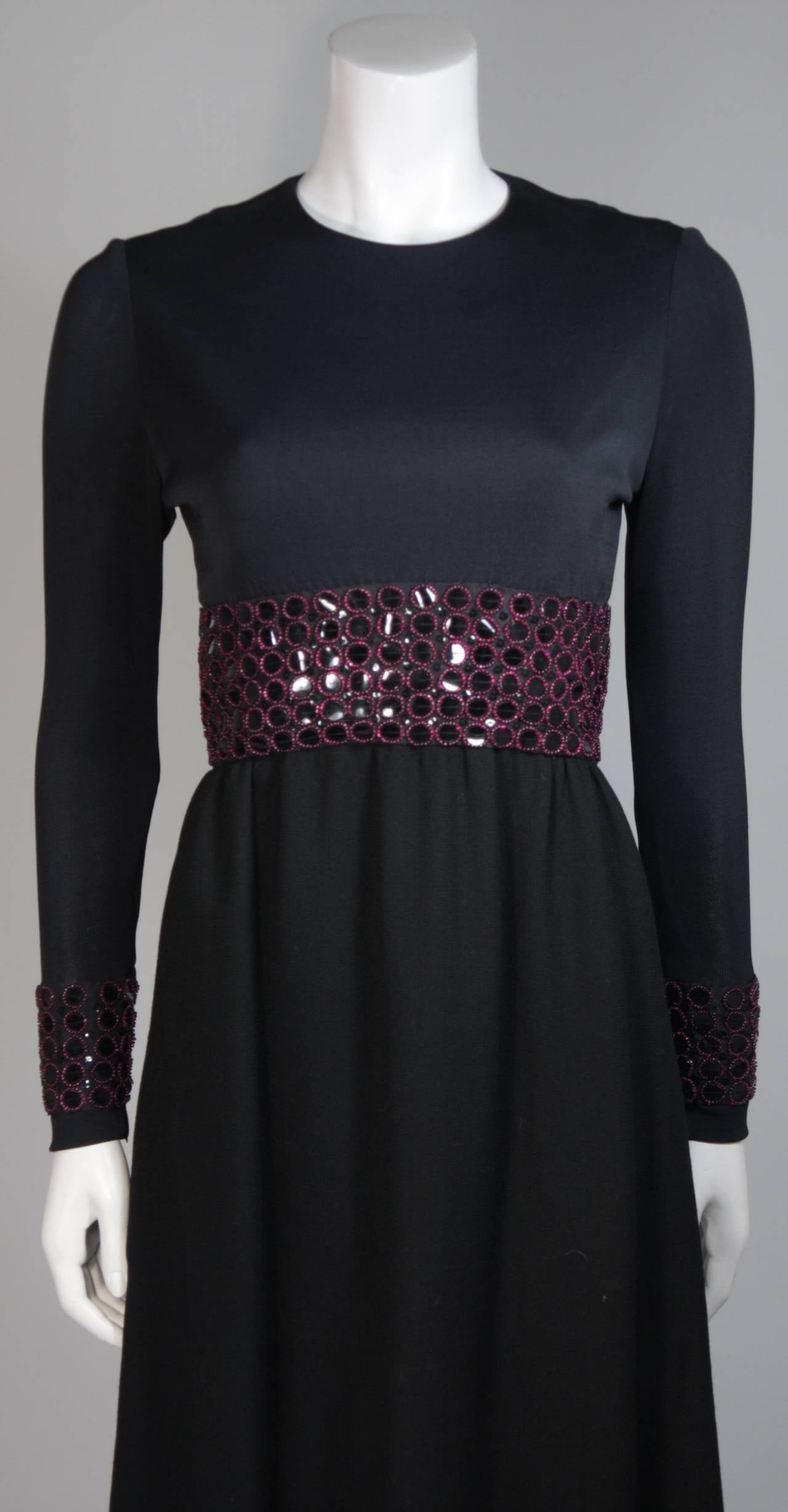 Chester Weinberg Black Long Sleeve Gown With Beaded Waist Size S M 4