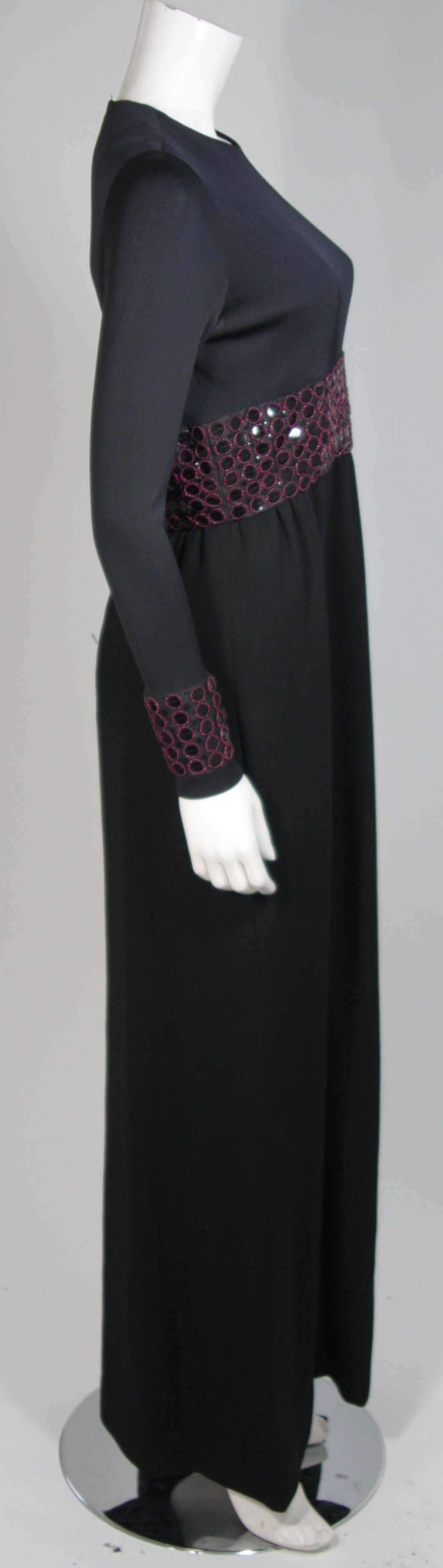 Chester Weinberg Black Long Sleeve Gown With Beaded Waist Size S M 5