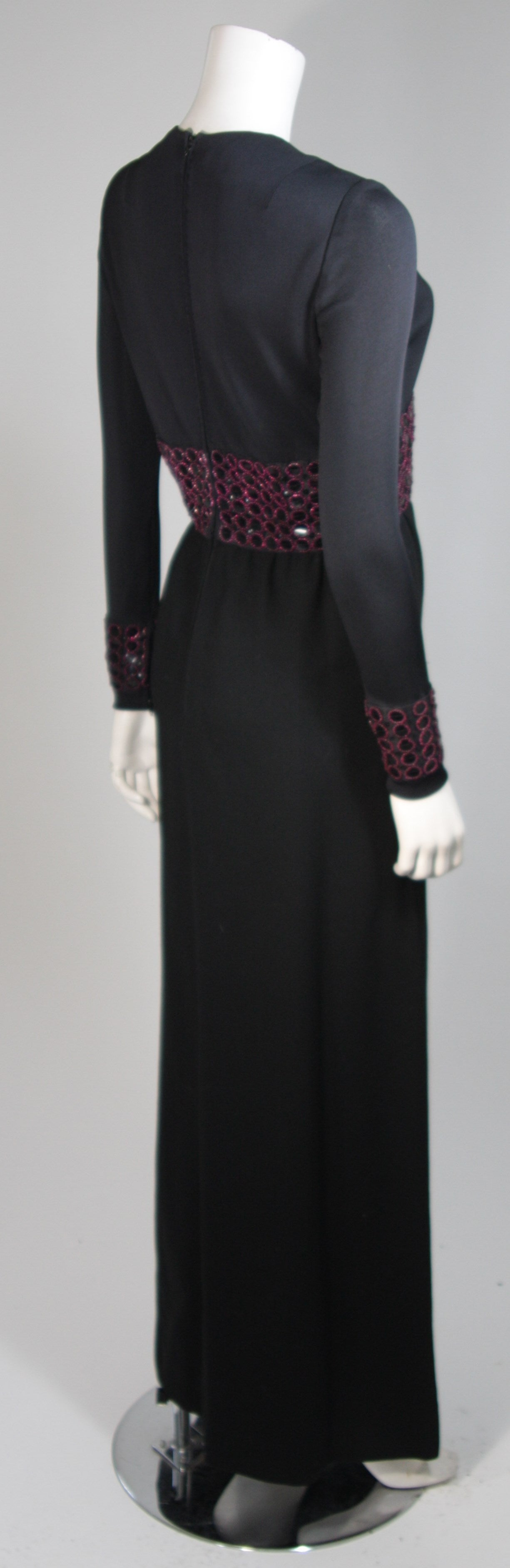 Chester Weinberg Black Long Sleeve Gown With Beaded Waist Size S M 7