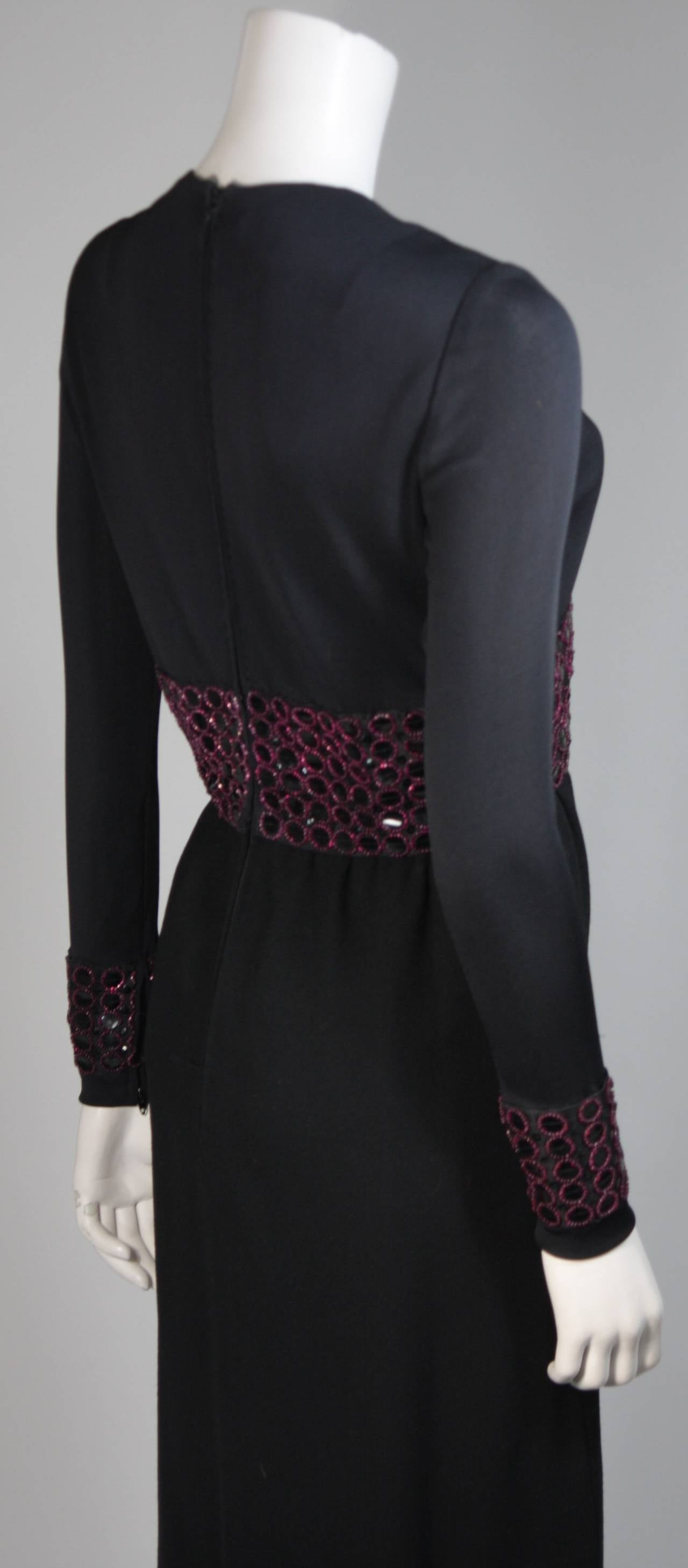 Chester Weinberg Black Long Sleeve Gown With Beaded Waist Size S M 6