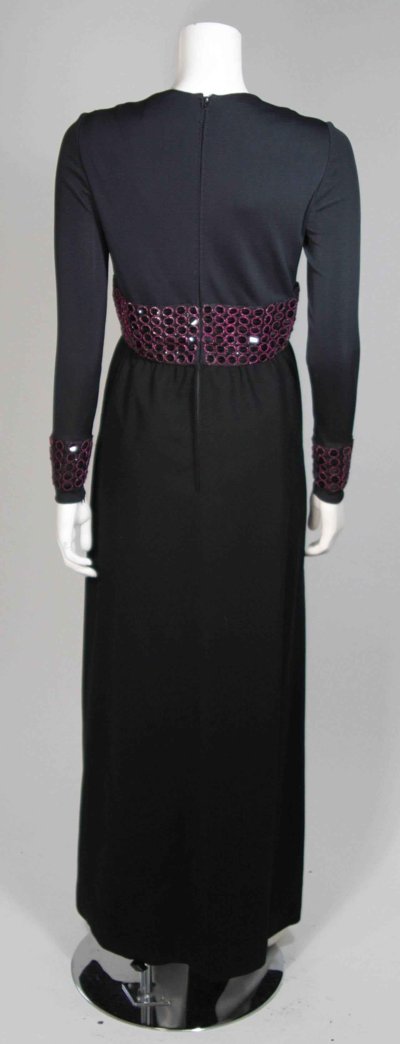 Chester Weinberg Black Long Sleeve Gown With Beaded Waist Size S M 8