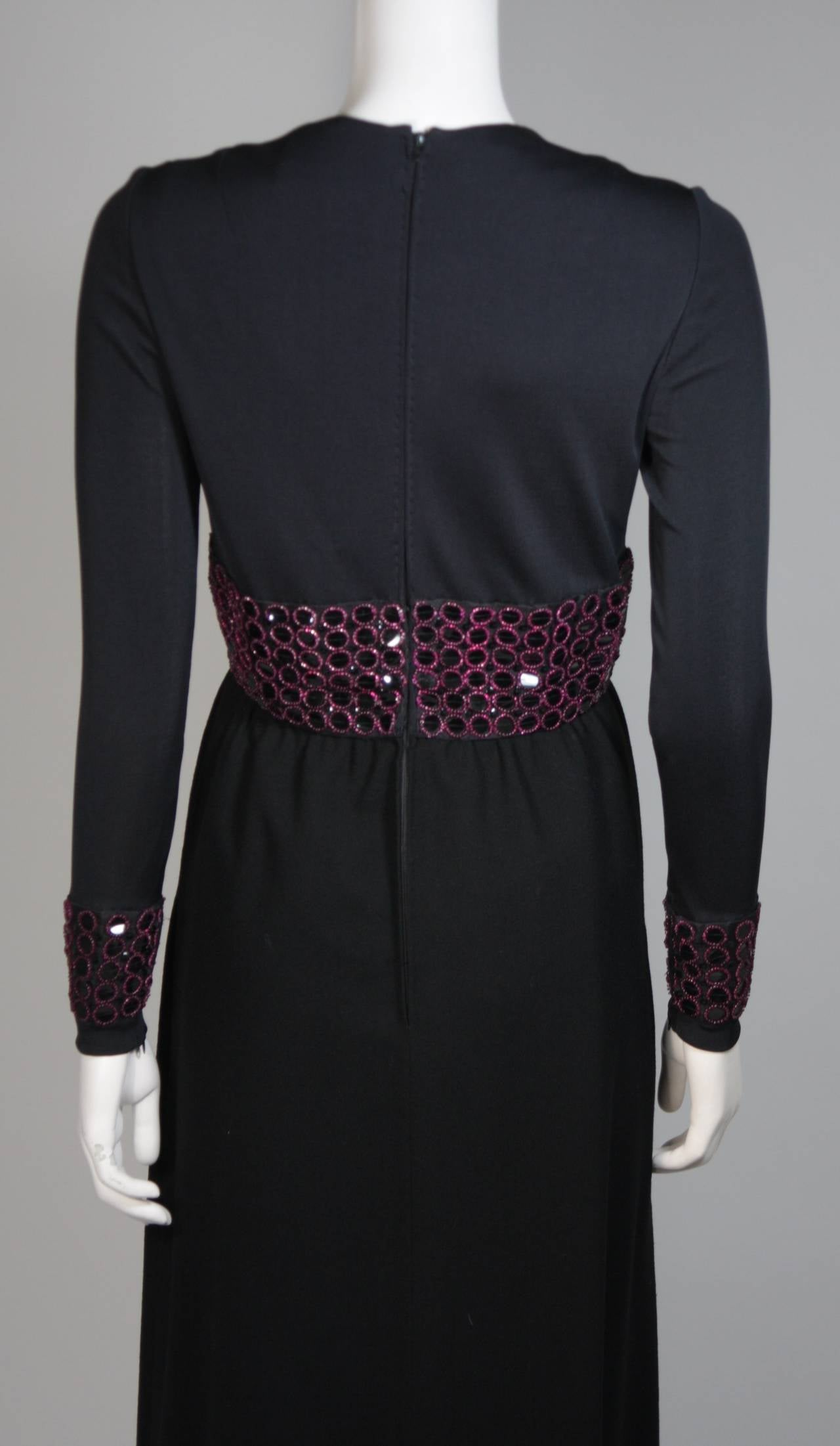 Chester Weinberg Black Long Sleeve Gown With Beaded Waist Size S M 9
