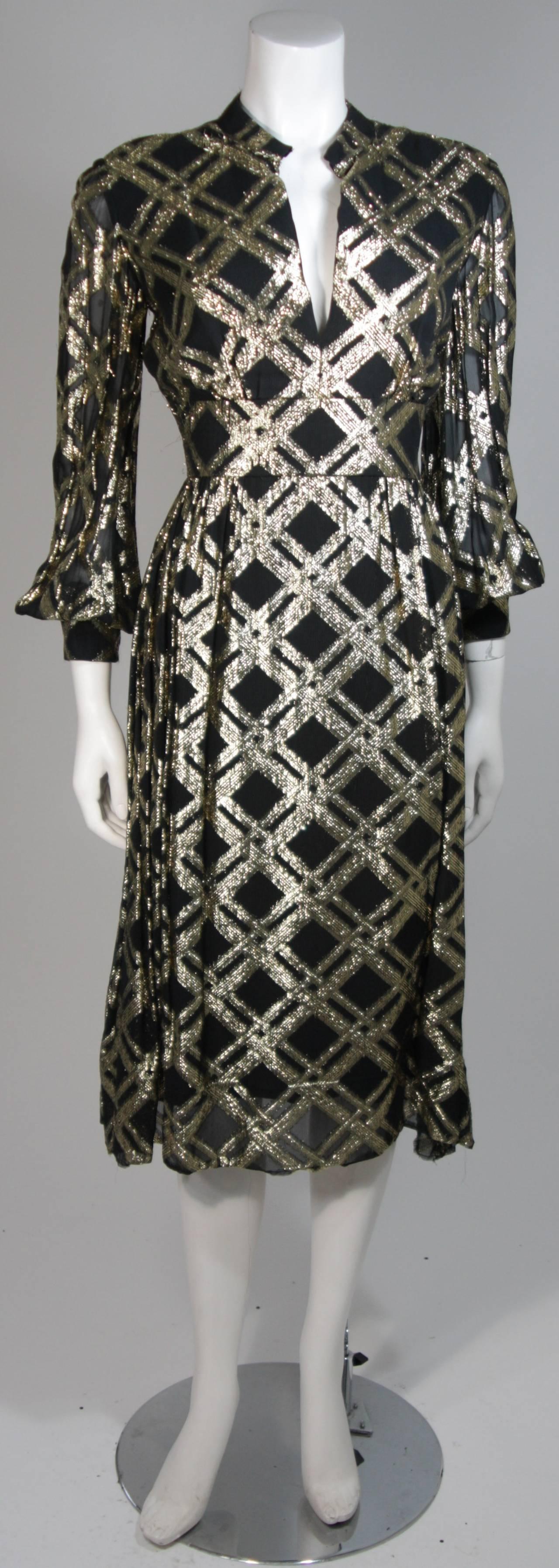 Ceil Chapman Black Silk and Gold Lame Cocktail Dress Size M 2