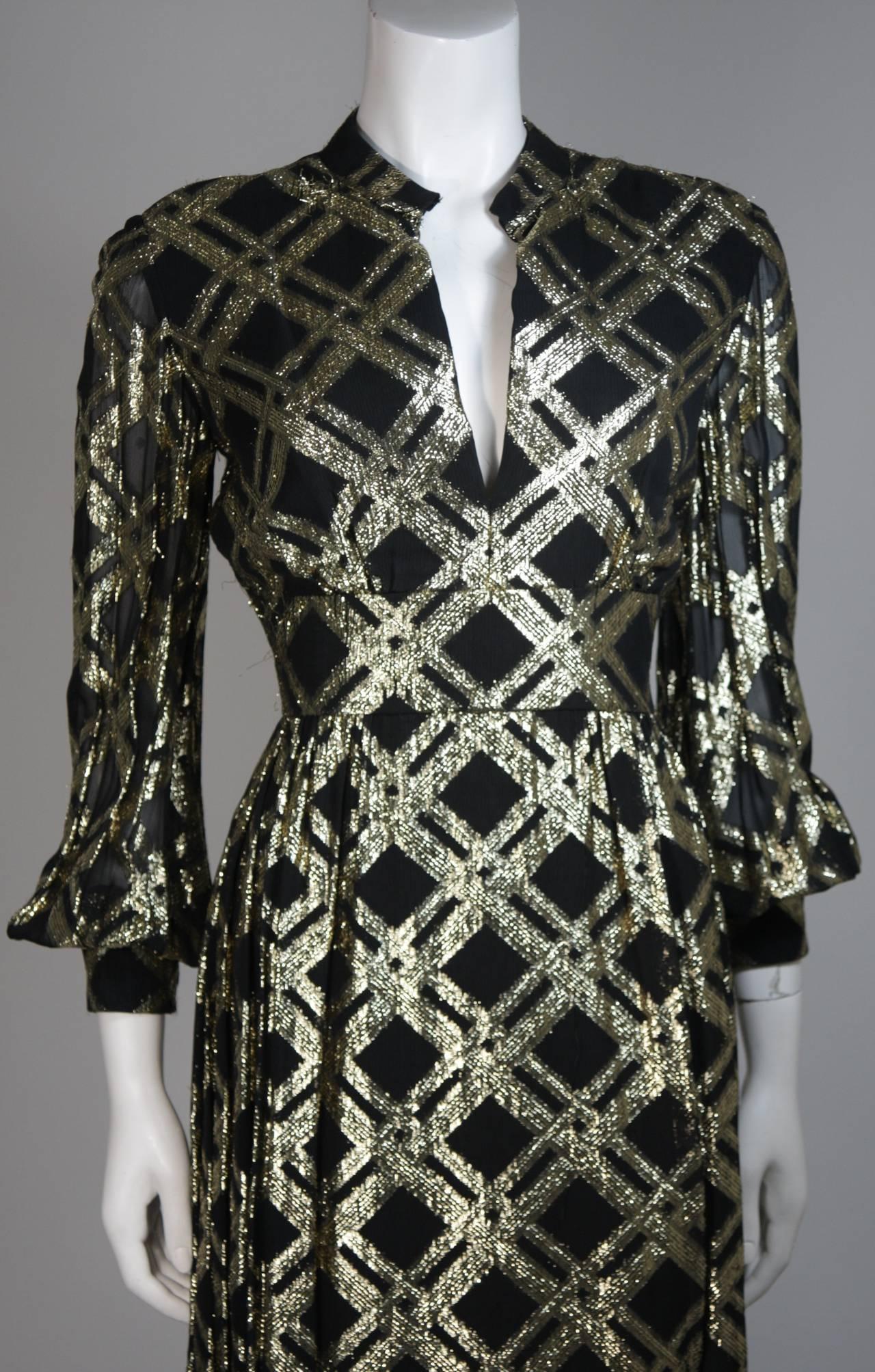 Ceil Chapman Black Silk and Gold Lame Cocktail Dress Size M 3