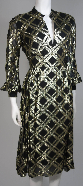 Ceil Chapman Black Silk and Gold Lame Cocktail Dress Size M 5