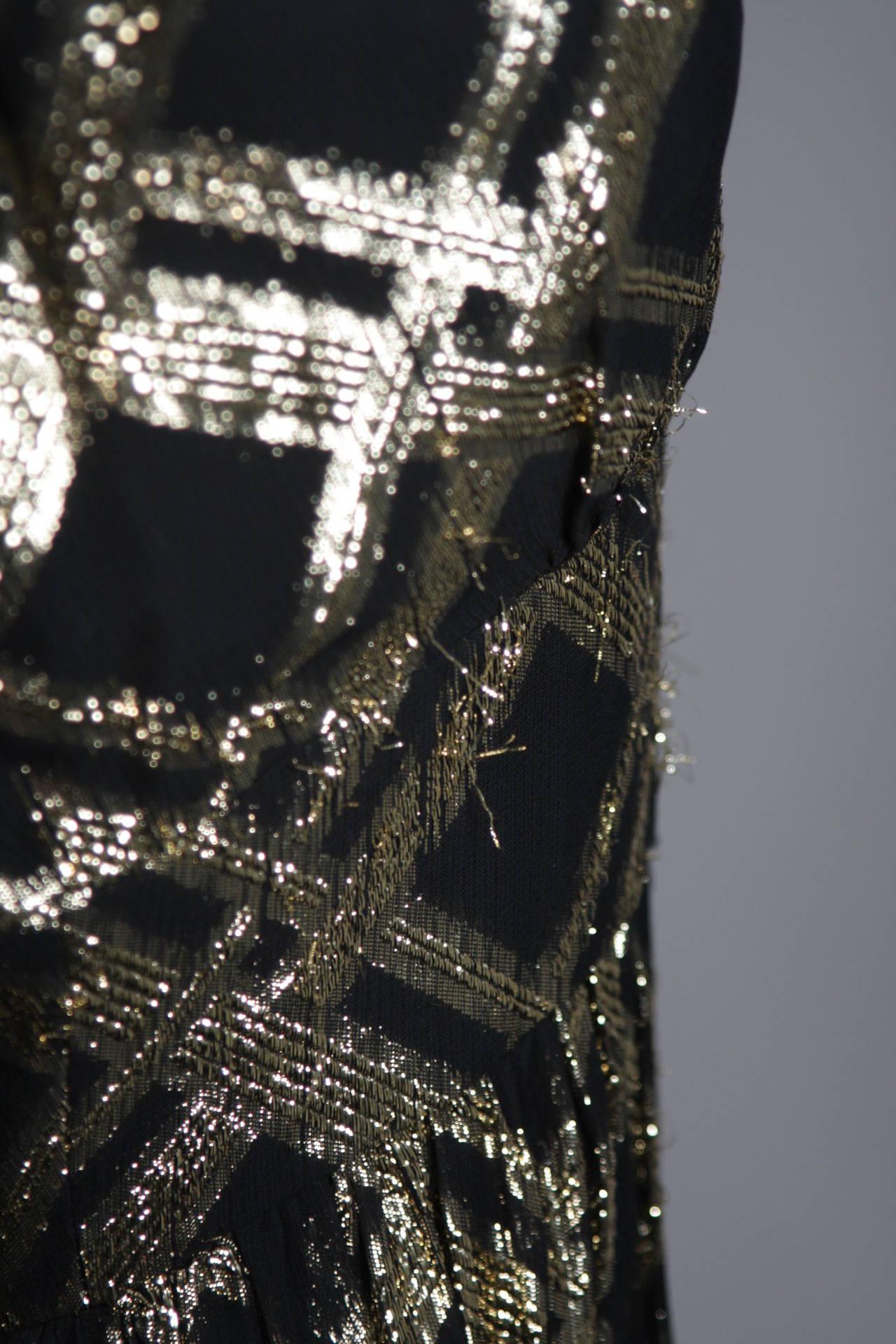 Ceil Chapman Black Silk and Gold Lame Cocktail Dress Size M 9