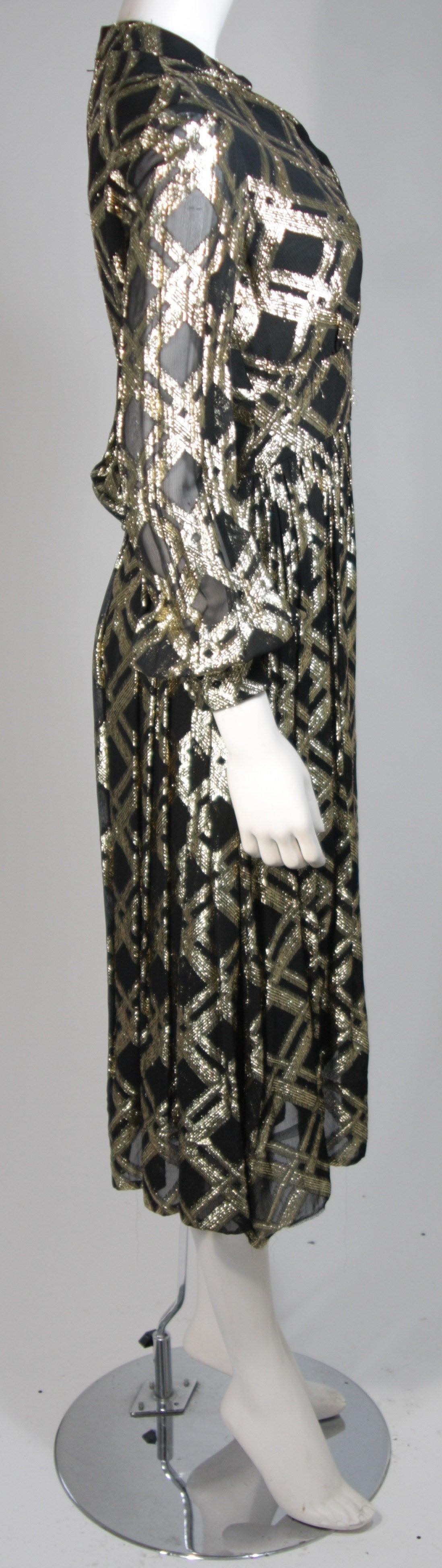 Ceil Chapman Black Silk and Gold Lame Cocktail Dress Size M 6