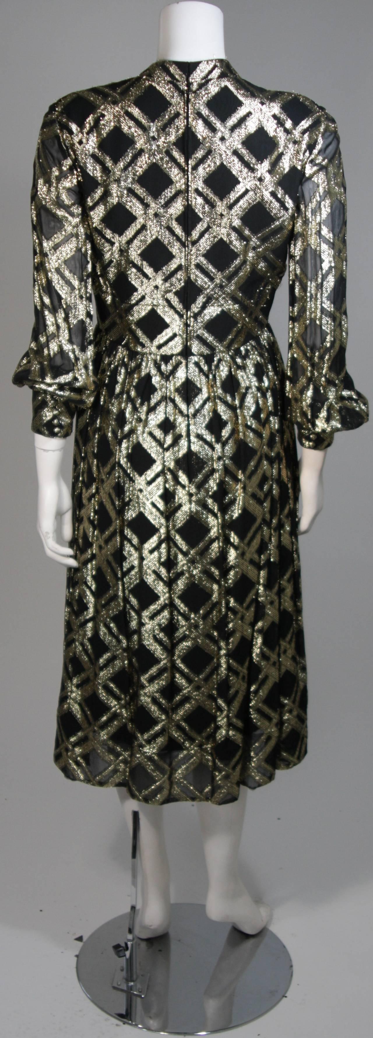 Ceil Chapman Black Silk and Gold Lame Cocktail Dress Size M 8