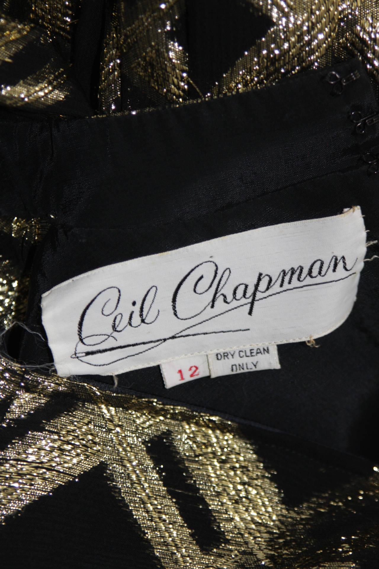 Ceil Chapman Black Silk and Gold Lame Cocktail Dress Size M 10
