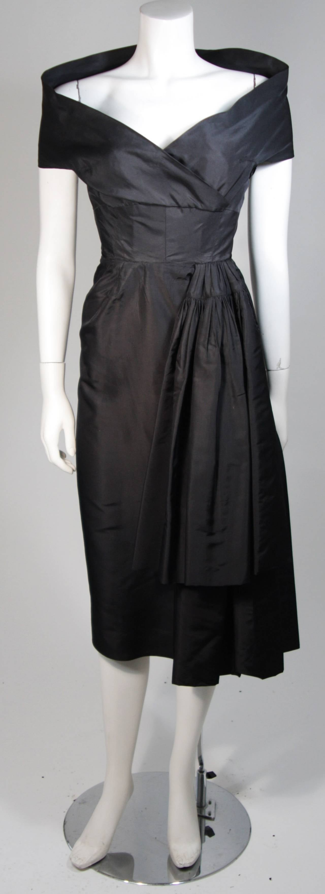 Ceil Chapman Black Cocktail Dress with Draped Detail Size Small 2