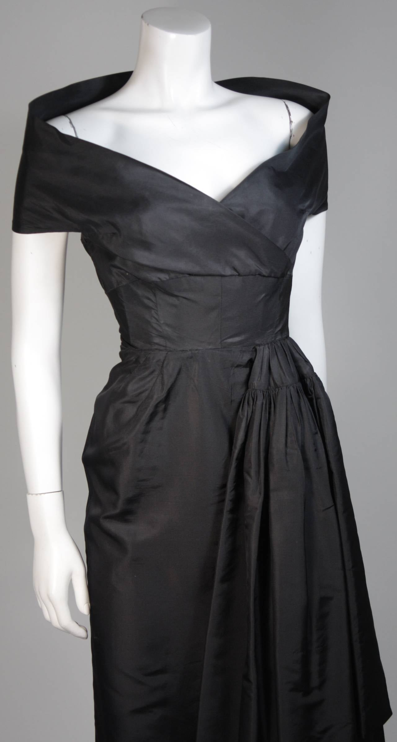 Ceil Chapman Black Cocktail Dress with Draped Detail Size Small For Sale 1