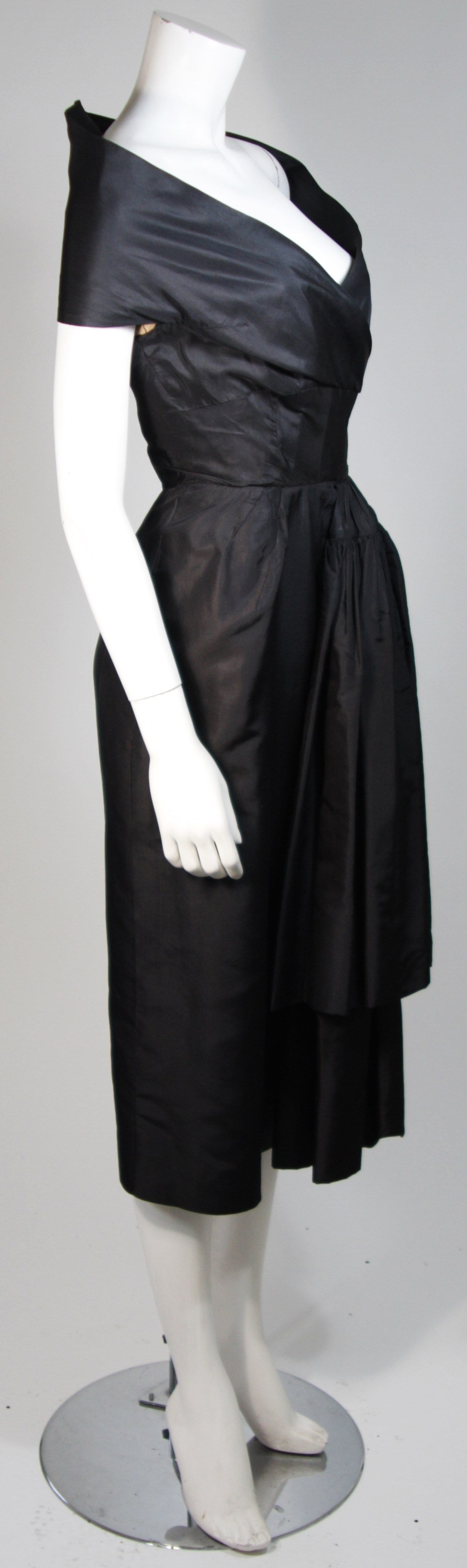 Ceil Chapman Black Cocktail Dress with Draped Detail Size Small For Sale 2