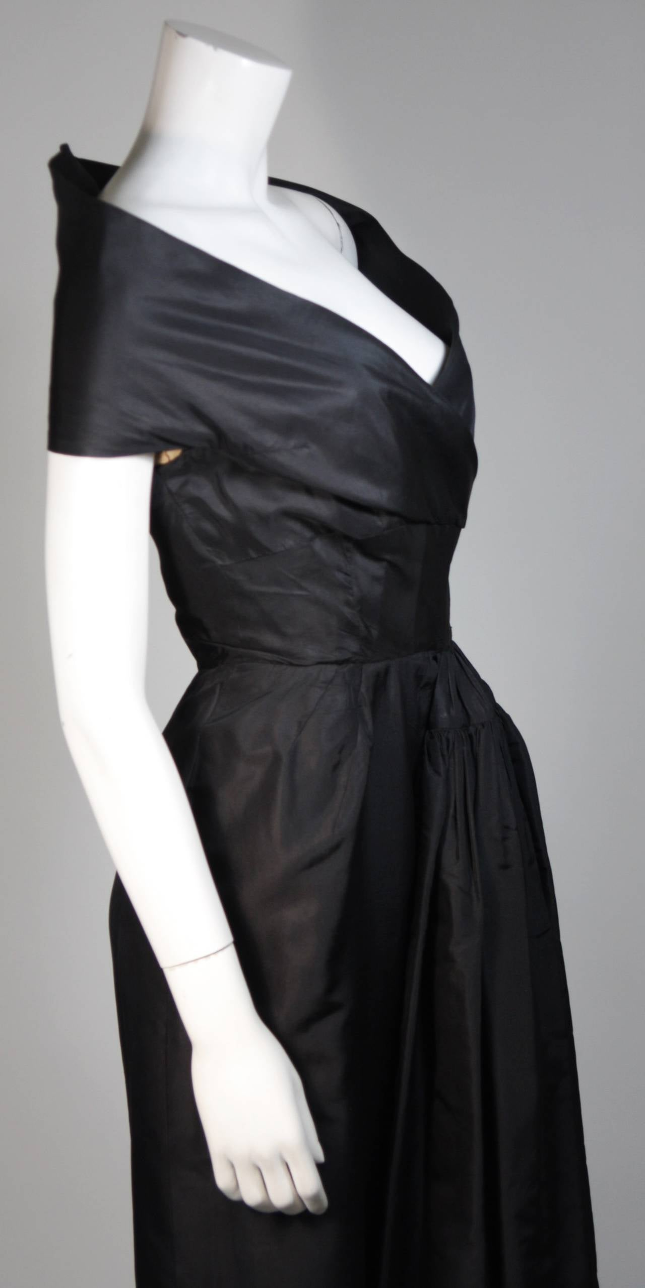 Ceil Chapman Black Cocktail Dress with Draped Detail Size Small For Sale 3