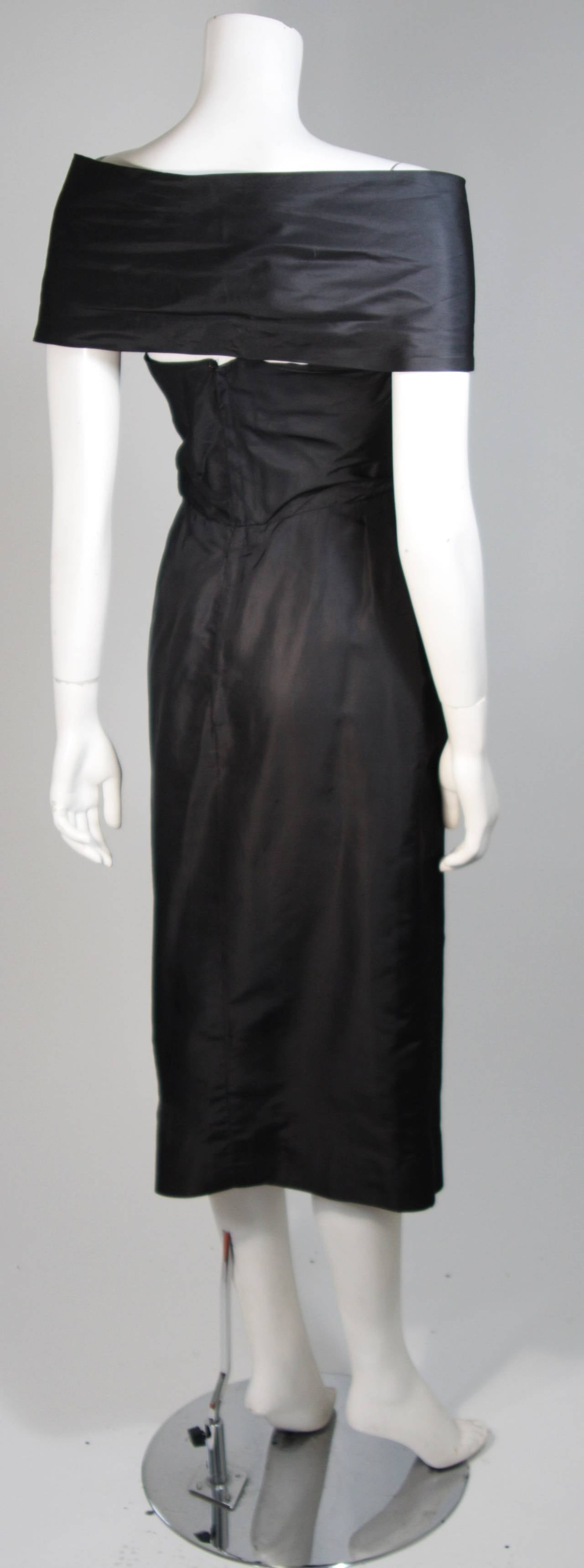 Ceil Chapman Black Cocktail Dress with Draped Detail Size Small For Sale 4