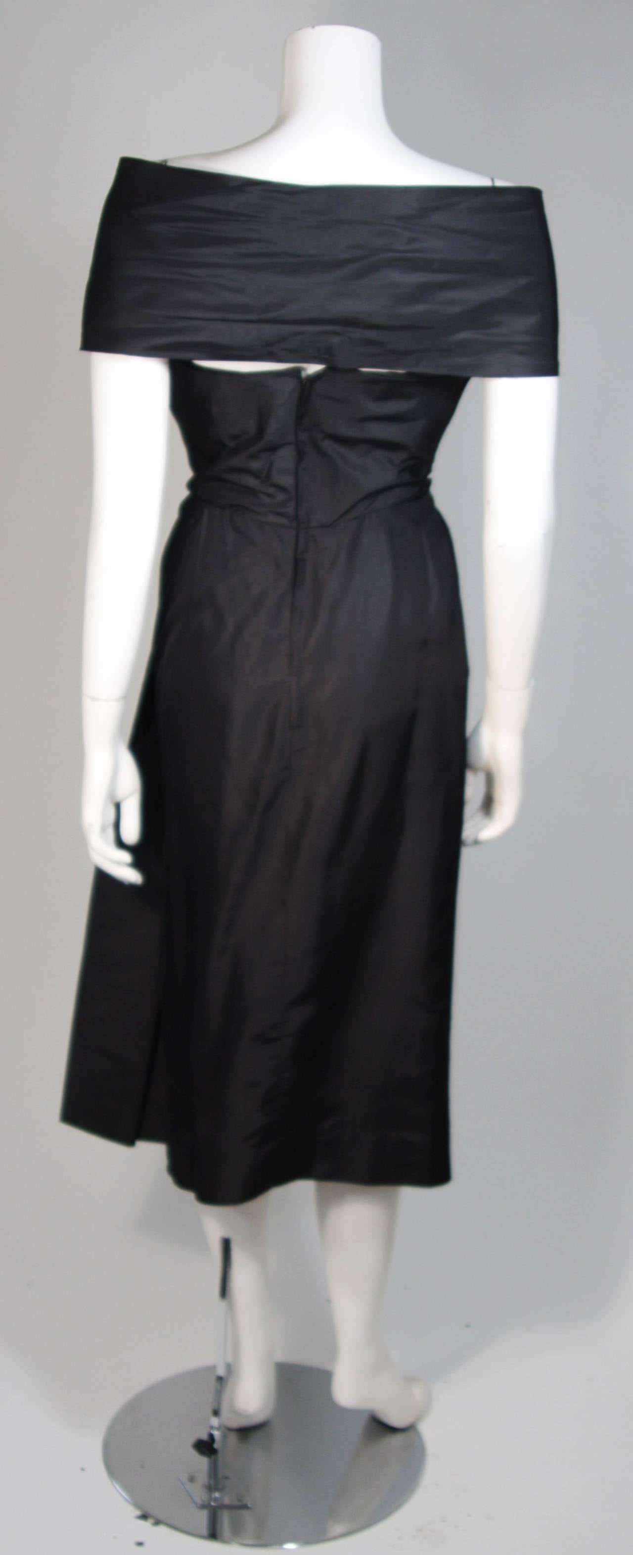 Ceil Chapman Black Cocktail Dress with Draped Detail Size Small For Sale 5