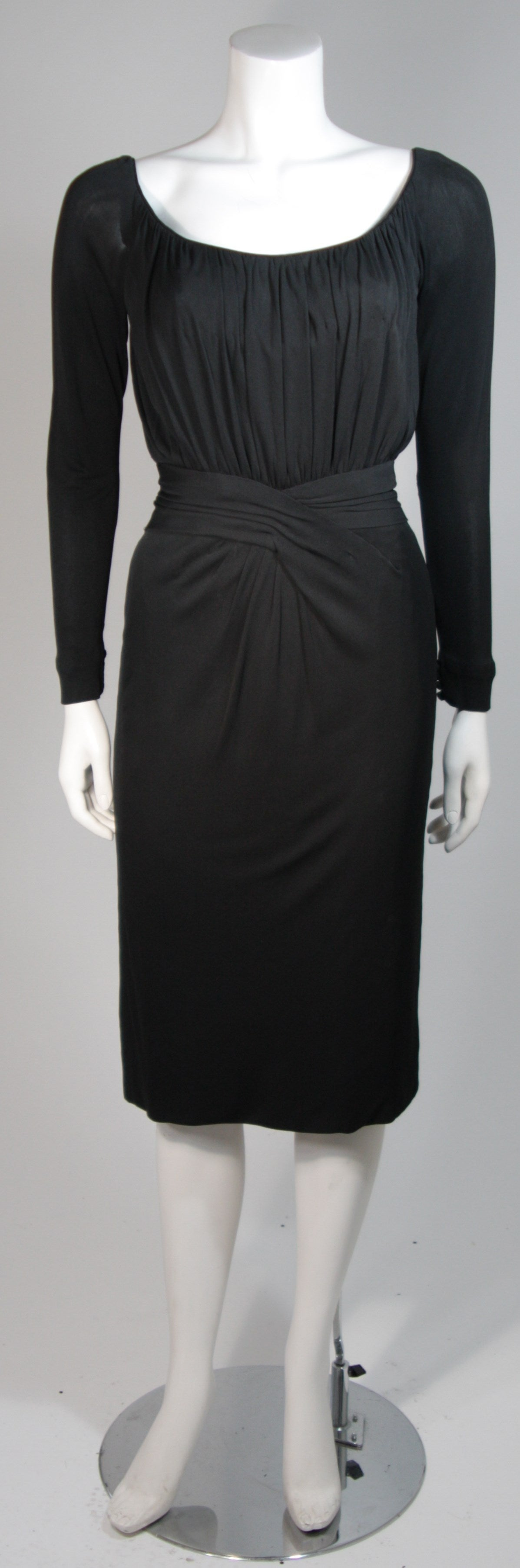 Ceil Chapman Black Silk Crepe Cocktail Dress with Gathers Size 4-6 2