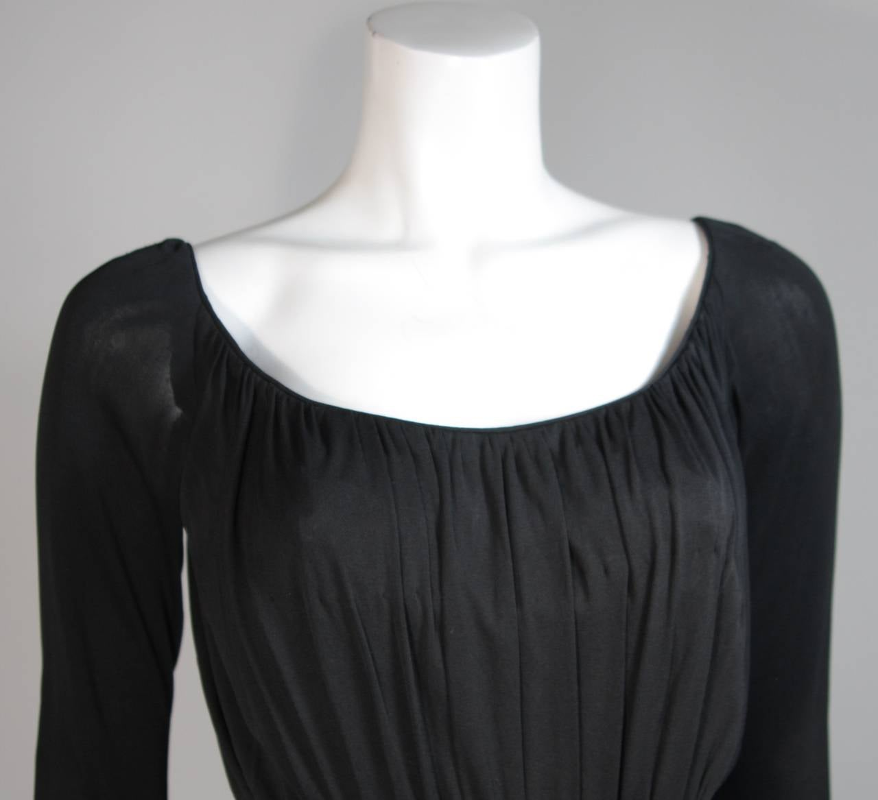 Ceil Chapman Black Silk Crepe Cocktail Dress with Gathers Size 4-6 3