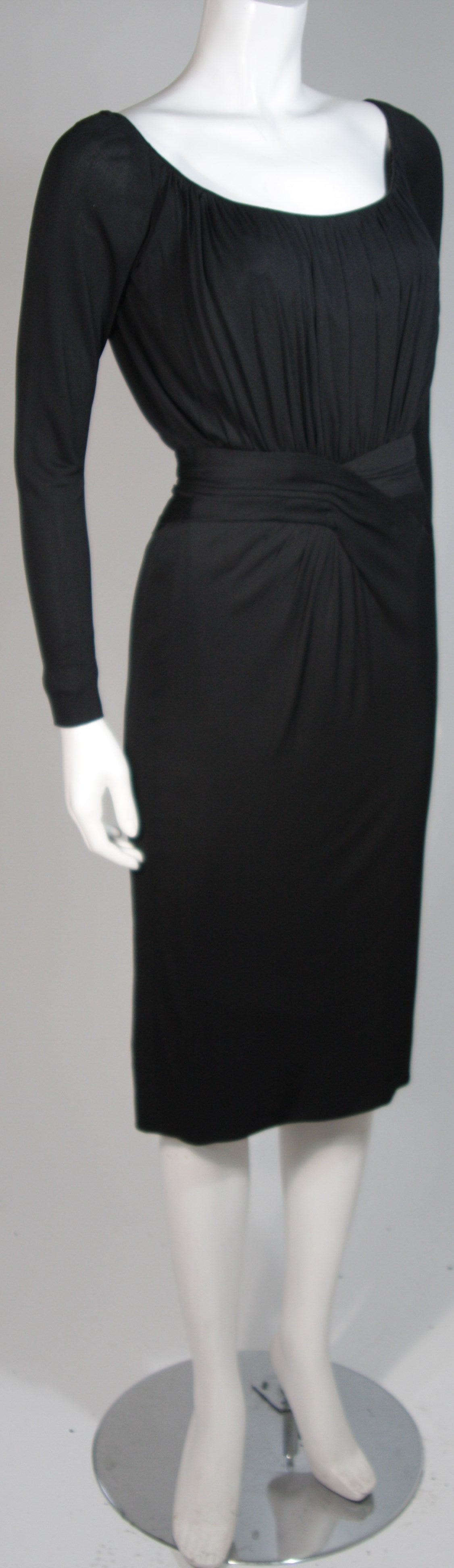 Ceil Chapman Black Silk Crepe Cocktail Dress with Gathers Size 4-6 4