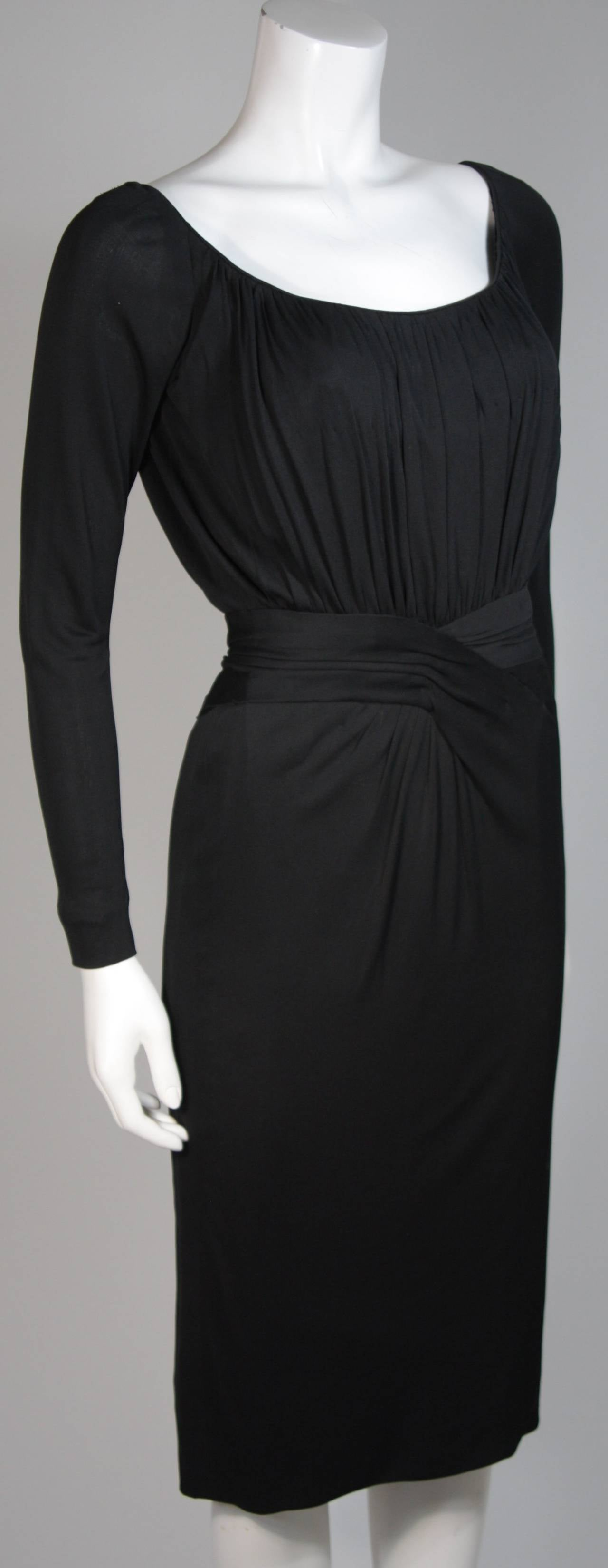 Ceil Chapman Black Silk Crepe Cocktail Dress with Gathers Size 4-6 5