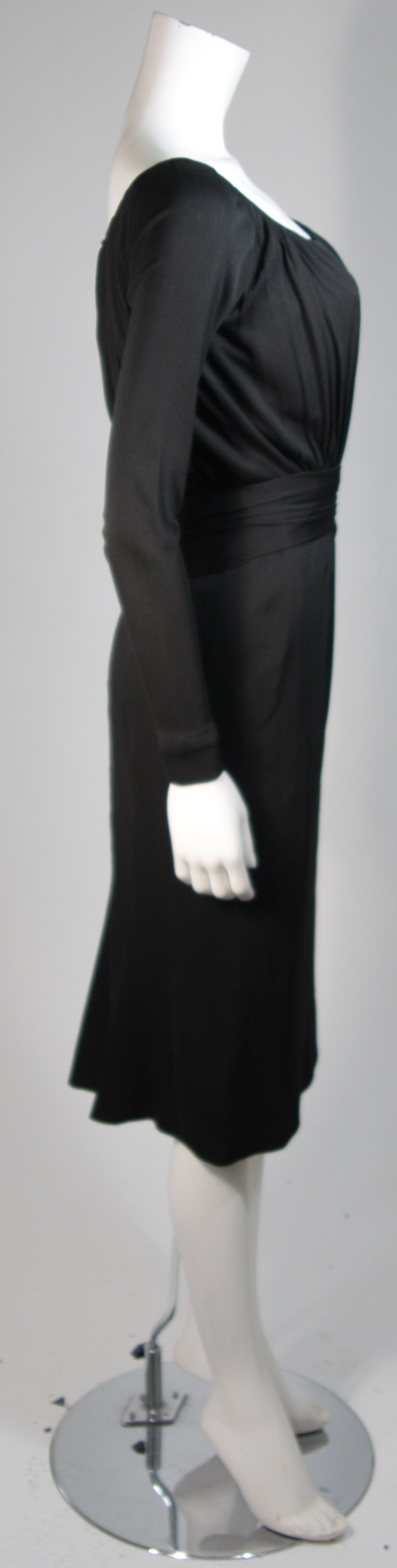 Ceil Chapman Black Silk Crepe Cocktail Dress with Gathers Size 4-6 For Sale 2