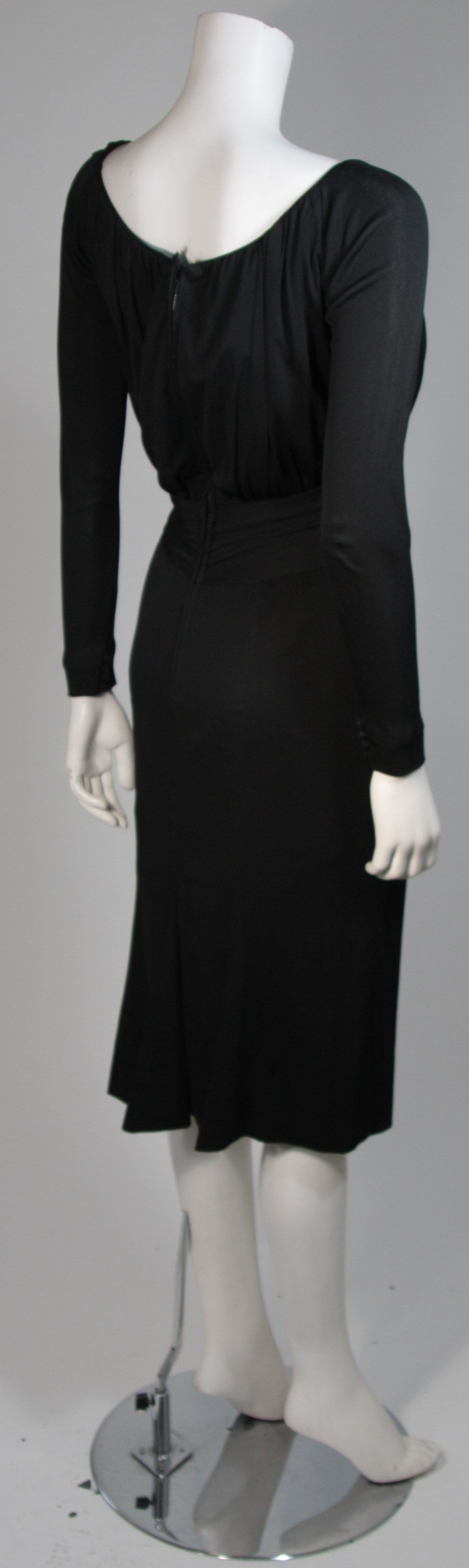 Ceil Chapman Black Silk Crepe Cocktail Dress with Gathers Size 4-6 7