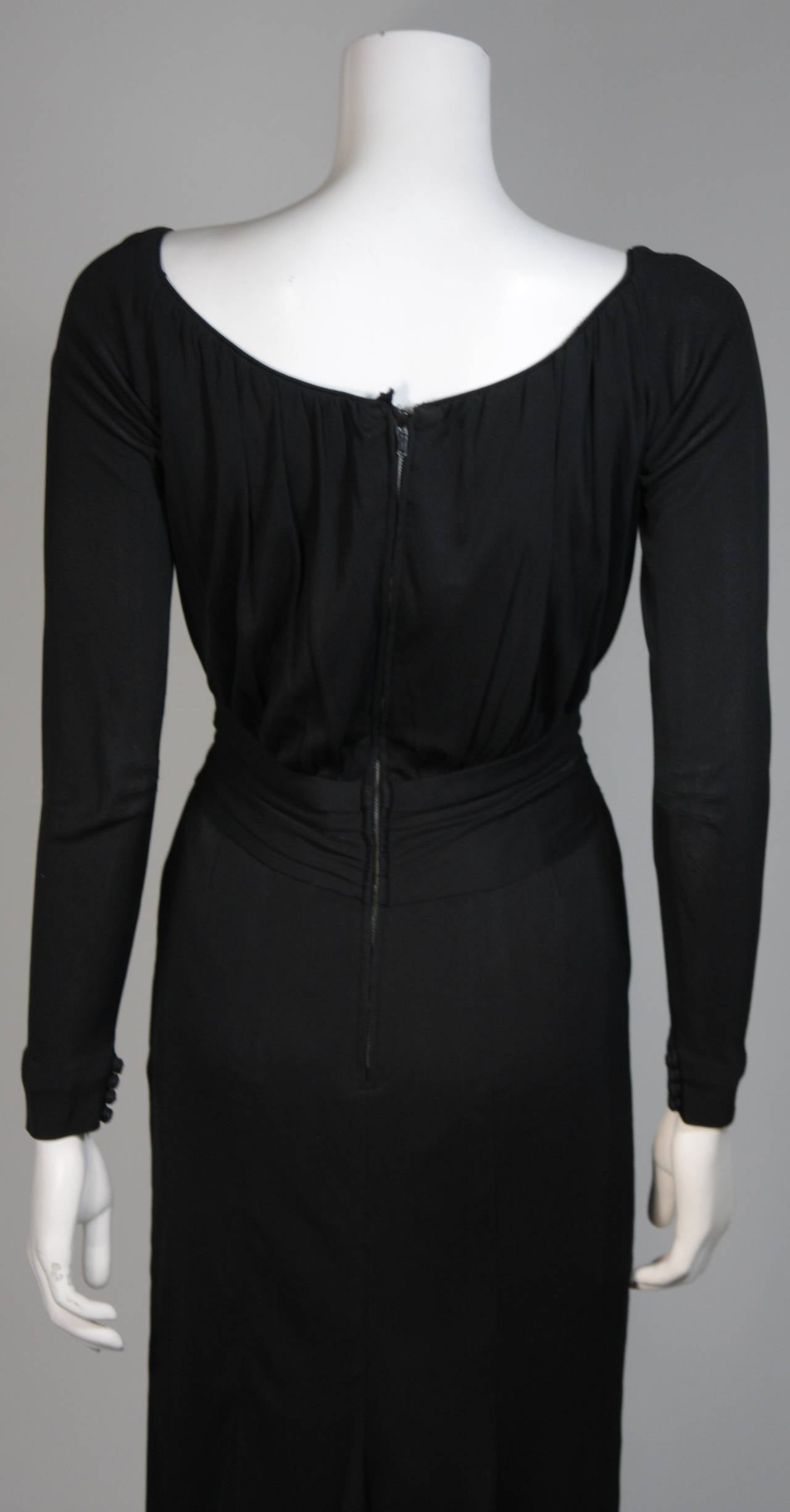 Ceil Chapman Black Silk Crepe Cocktail Dress with Gathers Size 4-6 For Sale 5