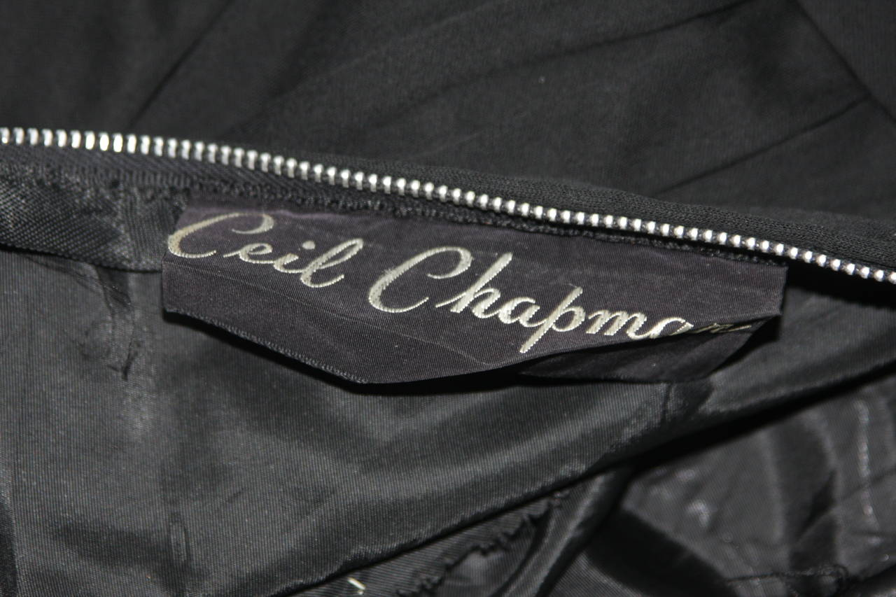 Ceil Chapman Black Silk Crepe Cocktail Dress with Gathers Size 4-6 For Sale 6