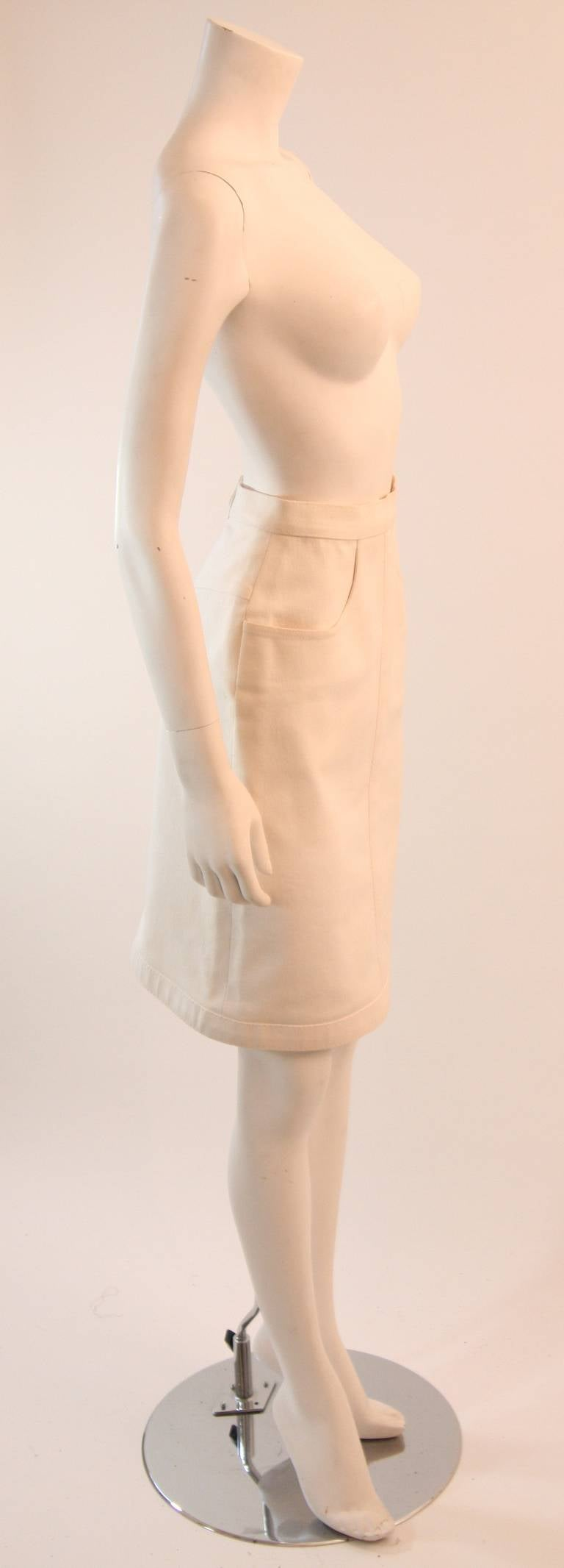 Fabulous Chanel Off White Stretch Denim Utility Style Skirt Size 38 4