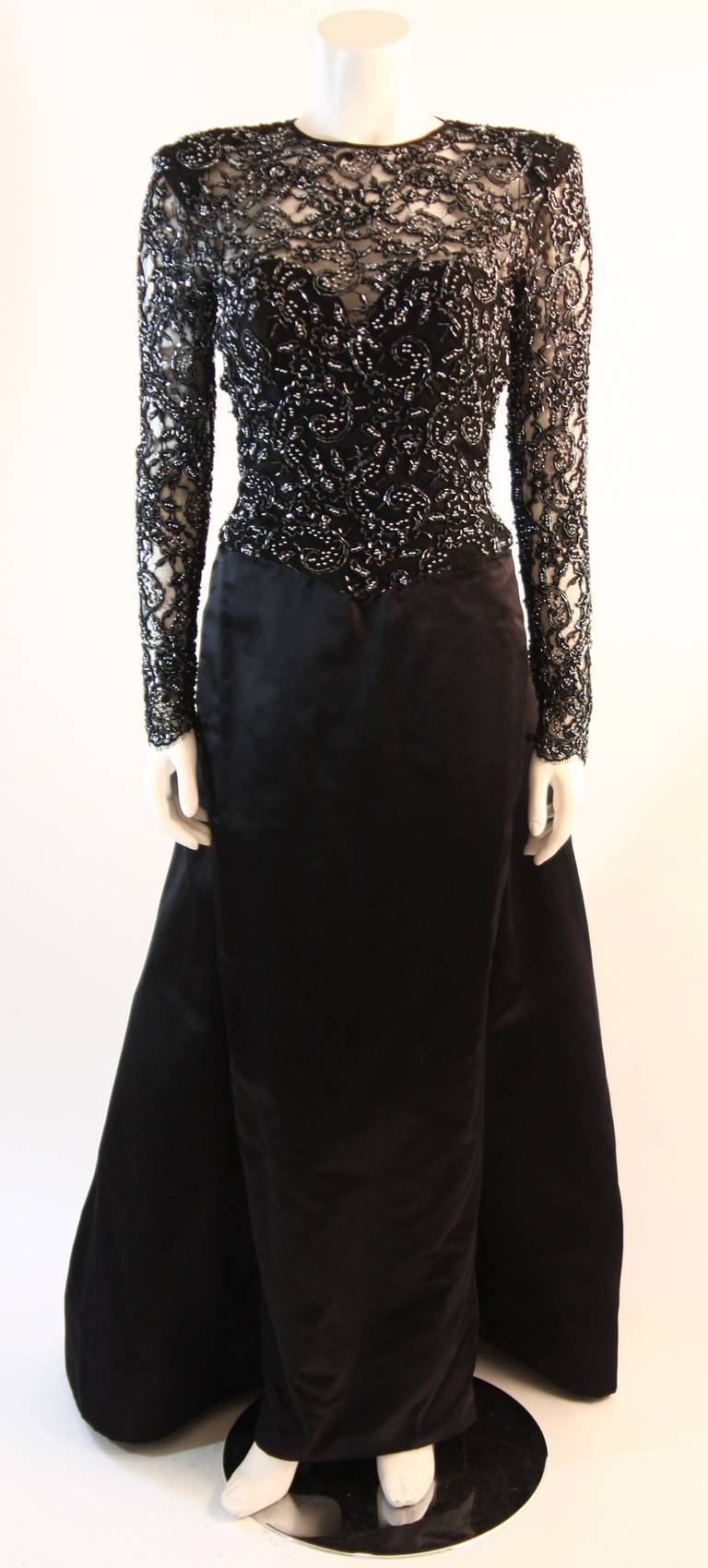 Vicky Tiel Embellished Lace Gown Size 38 2