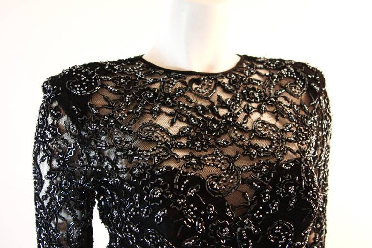 Vicky Tiel Embellished Lace Gown Size 38 4