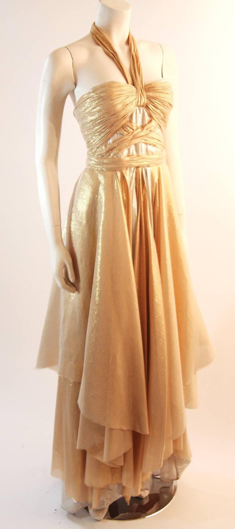 Elizabeth Mason Gold Lame Custom Couture Gown 2