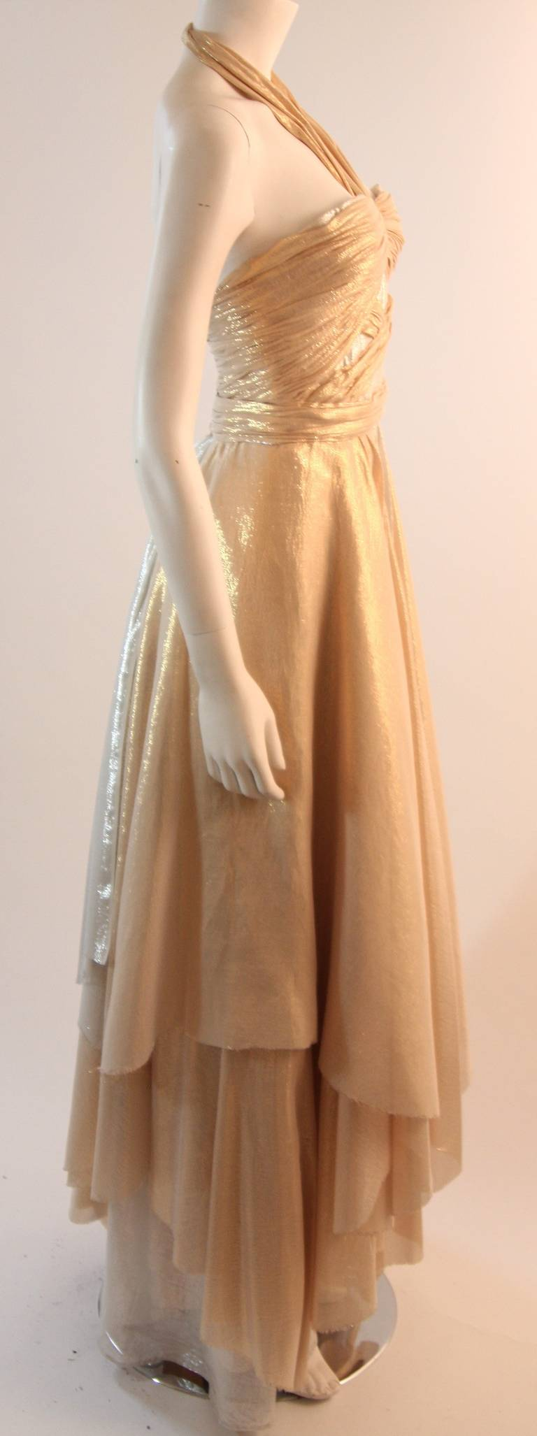 Elizabeth Mason Gold Lame Custom Couture Gown 4