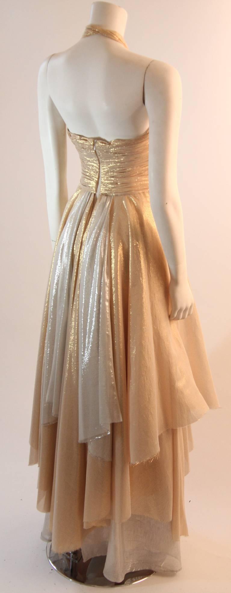 Elizabeth Mason Gold Lame Custom Couture Gown 5