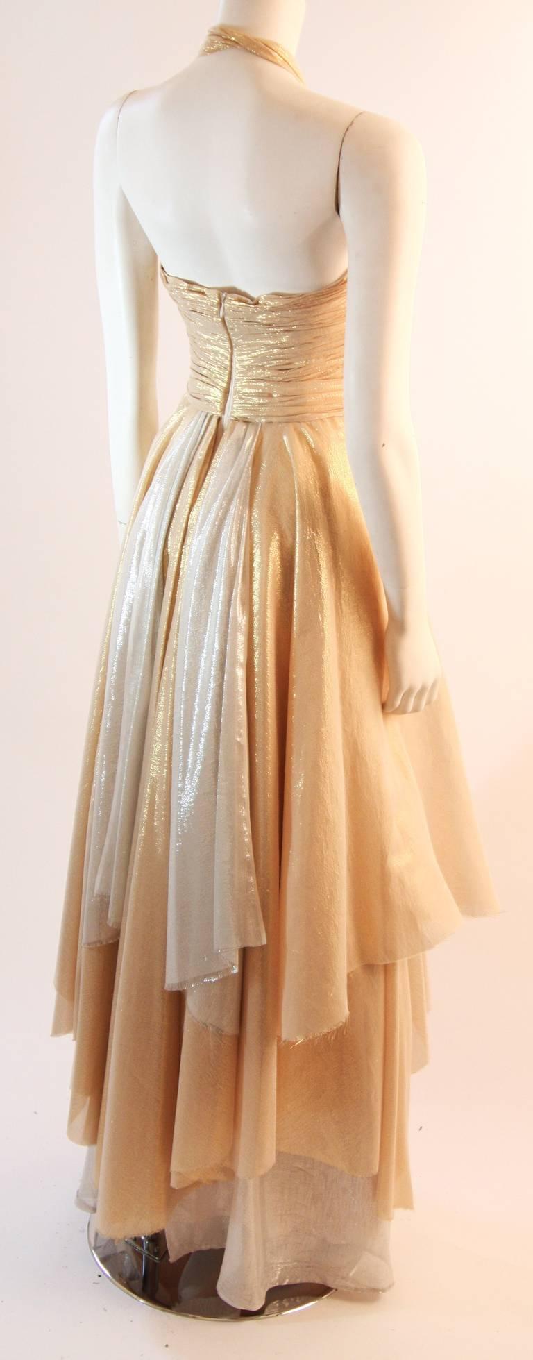 Elizabeth Mason Gold Lame Custom Couture Gown 6