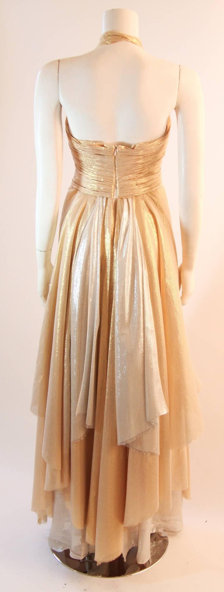 Elizabeth Mason Gold Lame Custom Couture Gown 7