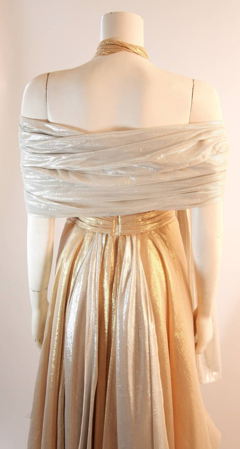 Elizabeth Mason Gold Lame Custom Couture Gown 8
