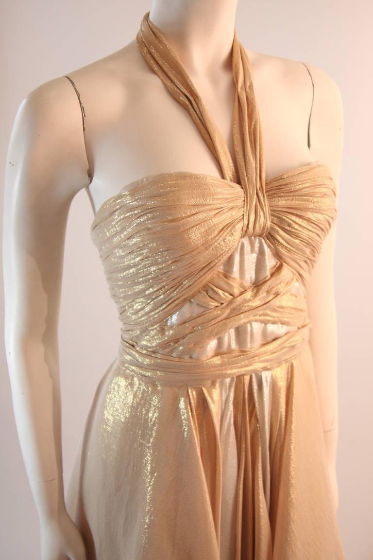 Elizabeth Mason Gold Lame Custom Couture Gown 3