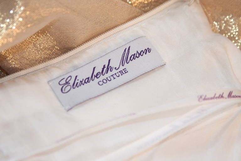 Elizabeth Mason Gold Lame Custom Couture Gown 9