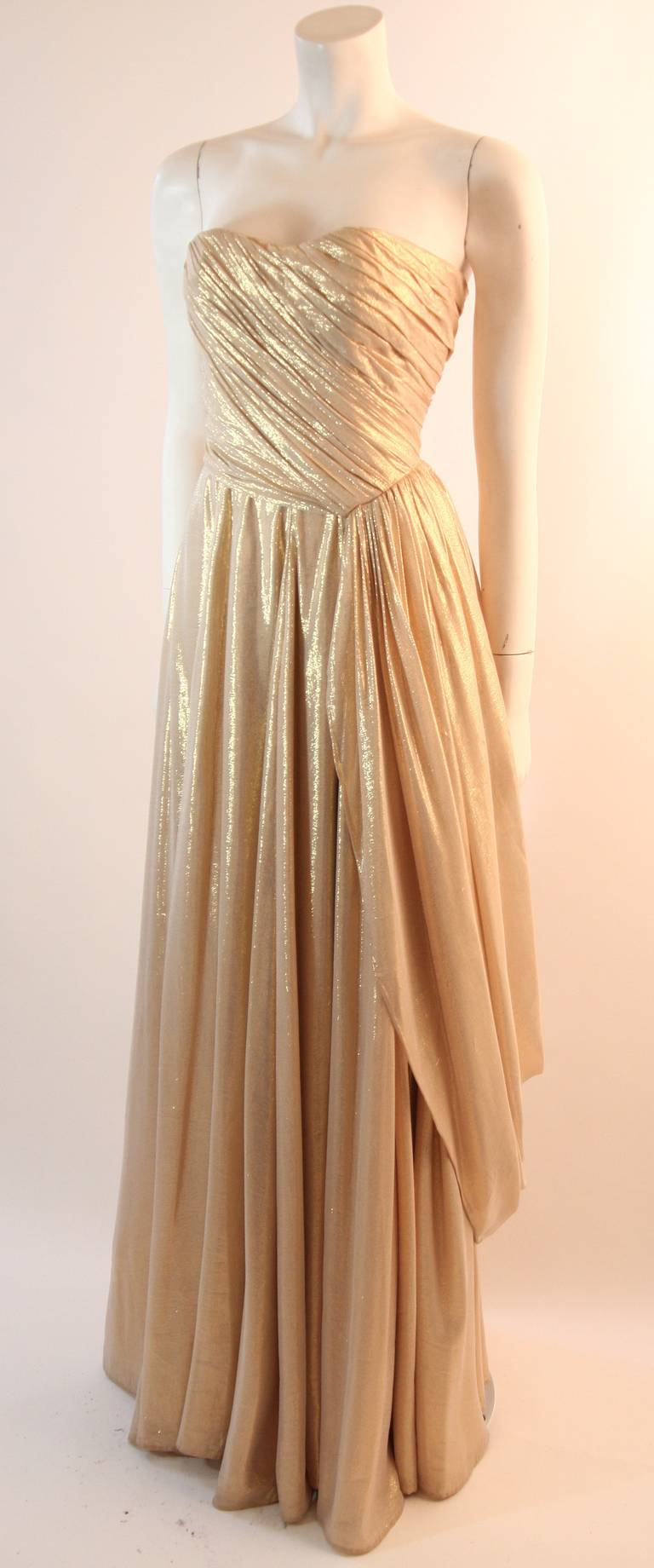 Brown Elizabeth Mason Couture Custom Draped Strapless Gold Lame Gown For Sale